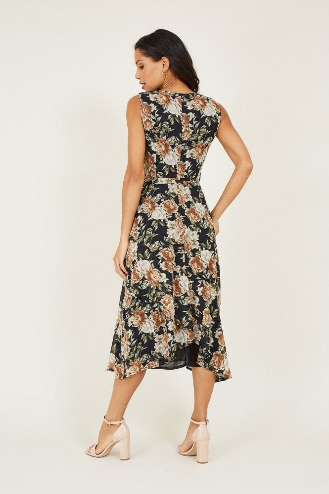 MELA Black Floral Tie Midi Dress