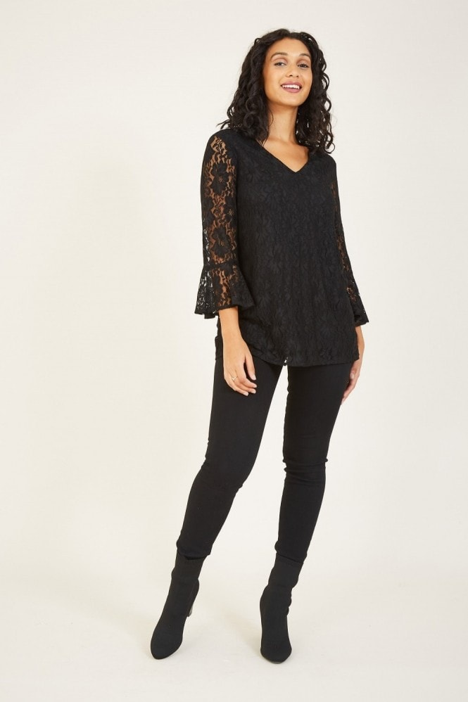 MELA Black Lace Blouse