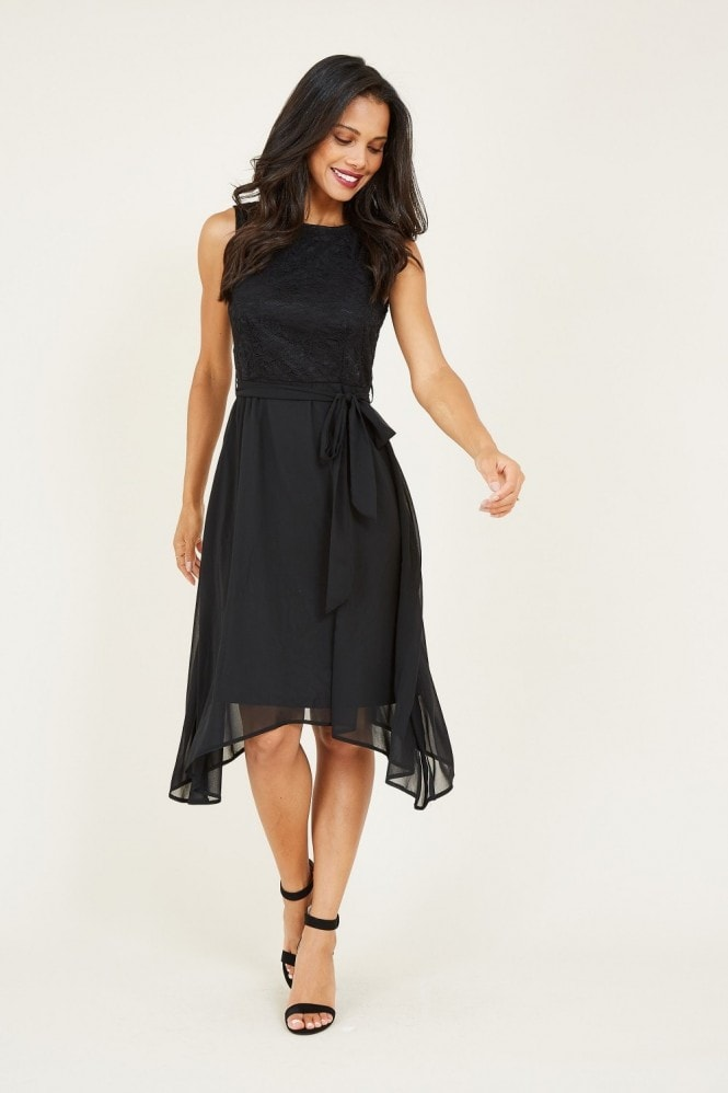 MELA Black Lace Asymmetric Dress