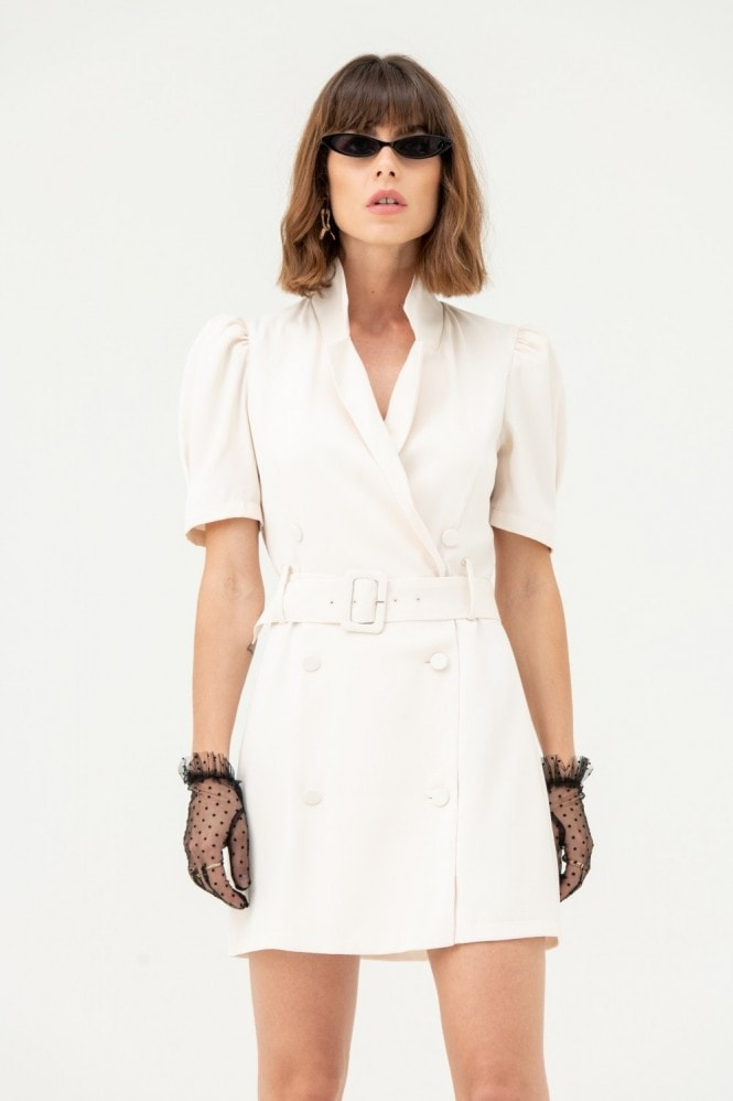 LIENA Blazer Dress with Short Sleeves in White
