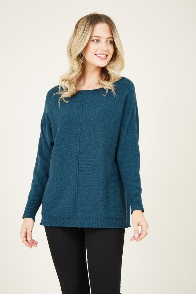 Teal Relaxed Knitted Jumper