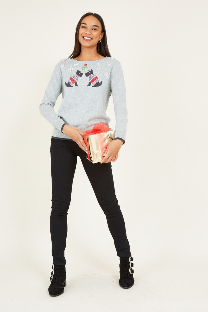 YUMI Grey Scotty Dog Christmas Jumper