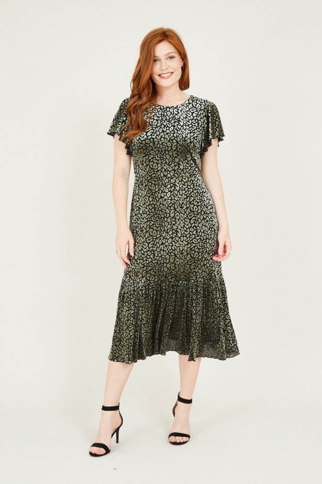 YUMI Green Animal Velour Midi Dress