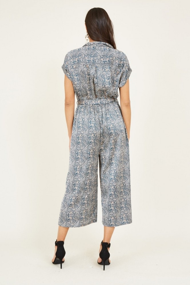 YUMI Teal Snakeskin Military Jumpsuit