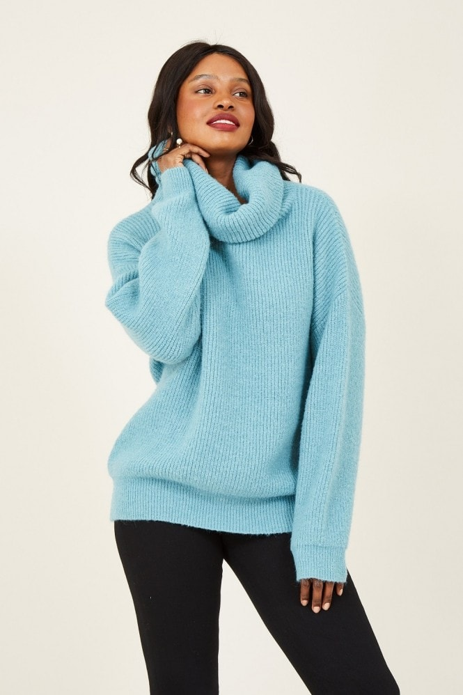 YUMI Blue Knitted Roll Neck Jumper
