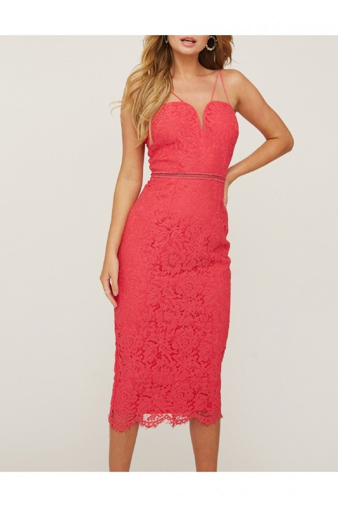 Girls on Film Midas Touch Hot Pink Lace Sweetheart Dress