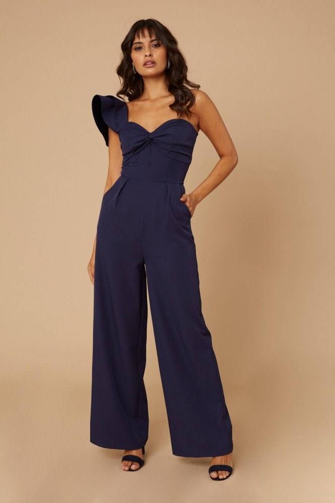 Little Mistress Dallas Navy One-Shoulder Frill Jumpsuit