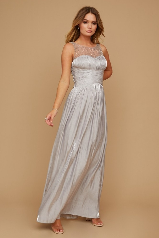 Little Mistress Grace Bridesmaid Grey Embellishment Sweetheart Maxi Dress