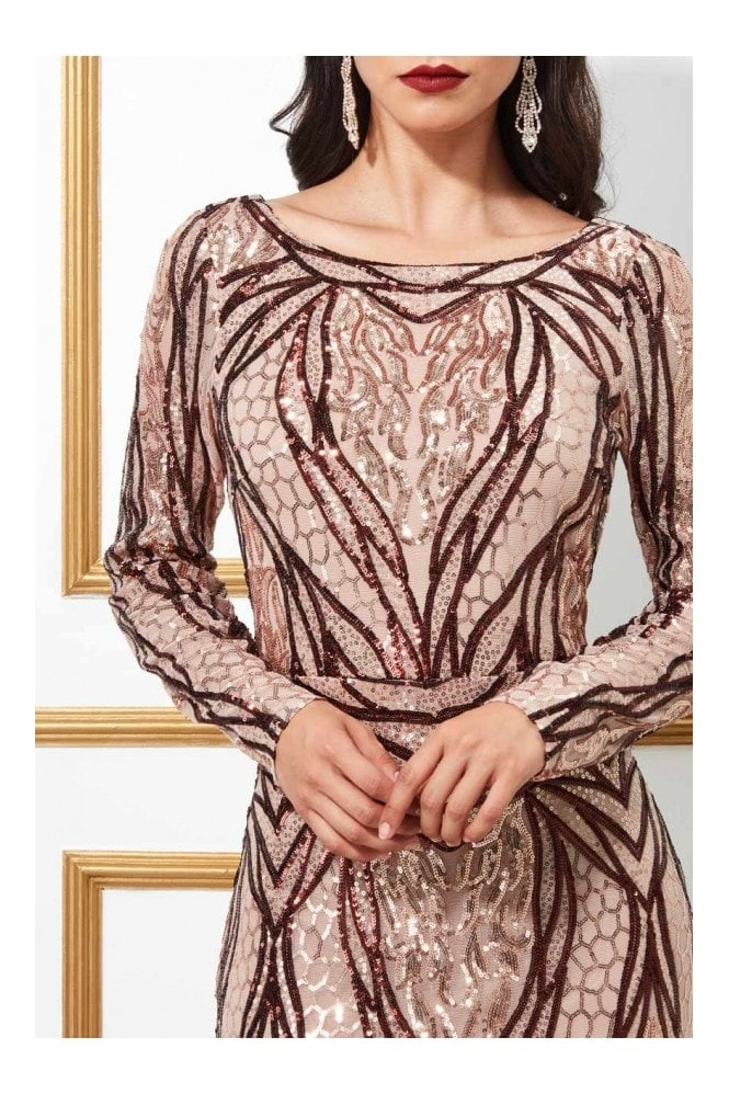 Goddiva Embellished Sequin Evening Occasion Maxi Dress - Champagne