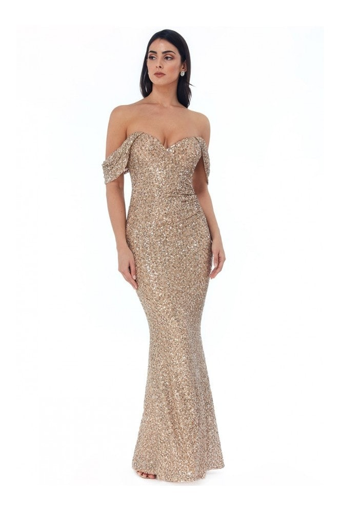 Goddiva Off the Shoulder Sequin Wing Maxi Dress - Champagne