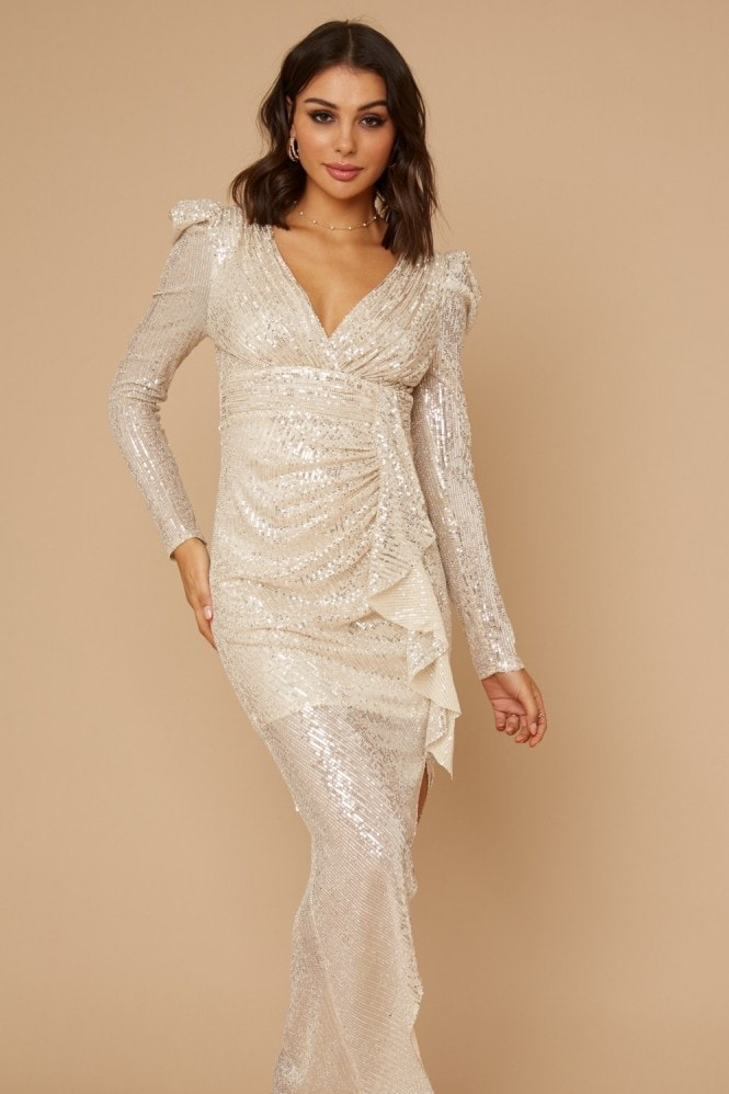 Little Mistress Baylor Champagne Sequin Frill Maxi Dress