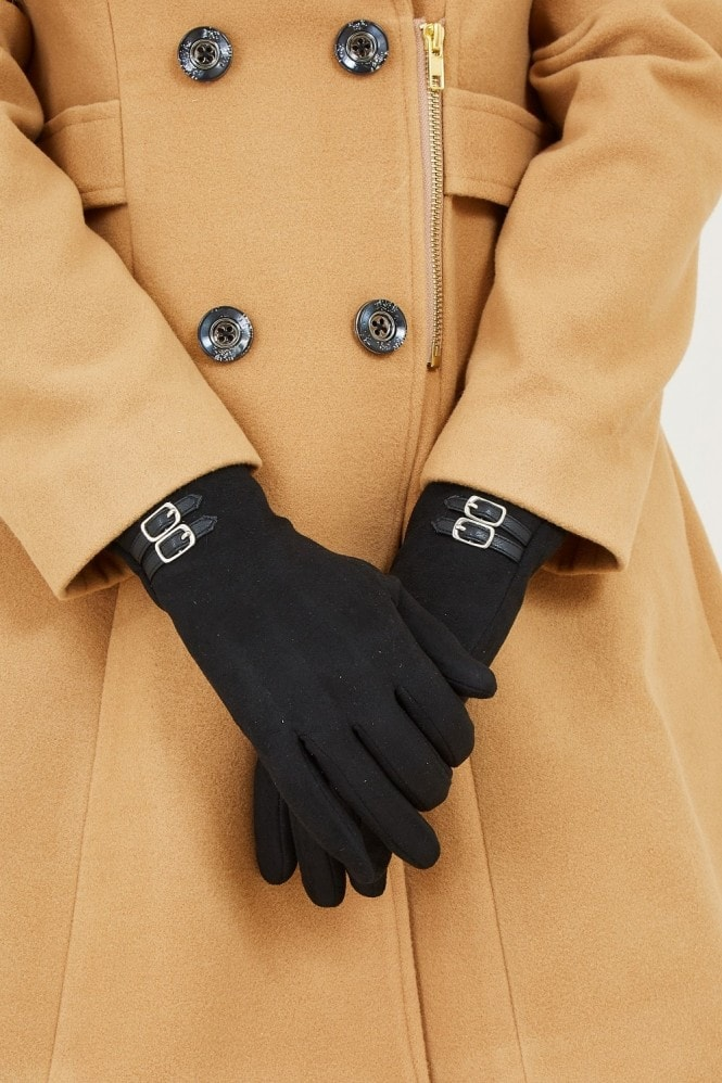 YUMI Black Gloves With Buckle Detail