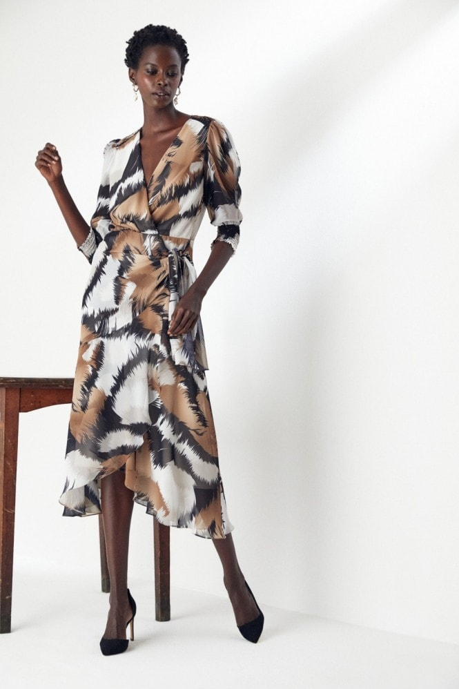 Explosion London Wrap Midi Dress in print