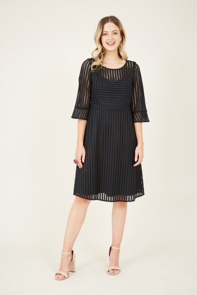YUMI Black Fishnet Skater Dress With Fluted Sleeves