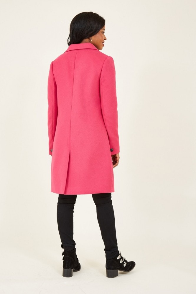 YUMI Pink Crombie Coat With Heart Lining