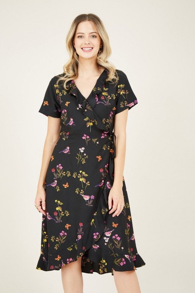 YUMI Bird Print Frill Wrap Dress
