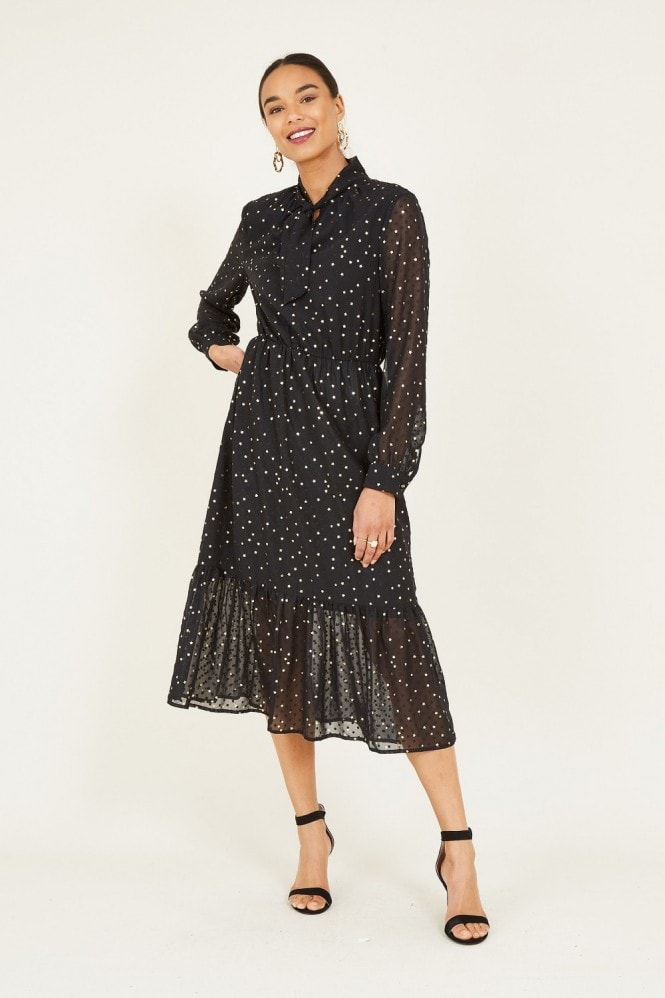 YUMI Black Foil Star Print Midi Dress With Pu