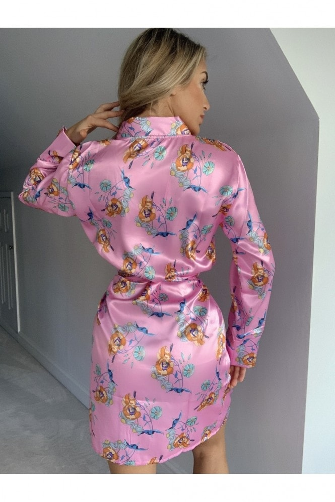 Outrageous Fortune Pink Floral-Print Kimono