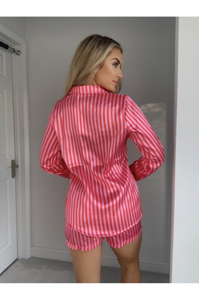 Outrageous Fortune Pink Stripe Satin Pyjama Shirt Co-ord