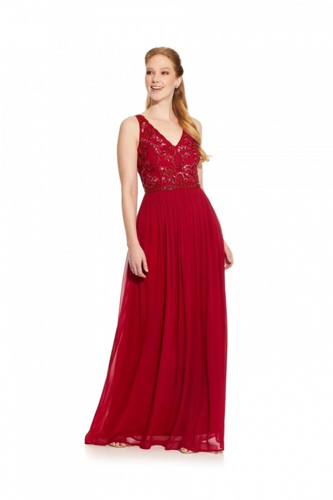 Hailey Logan Scallop Neck Beaded Gown
