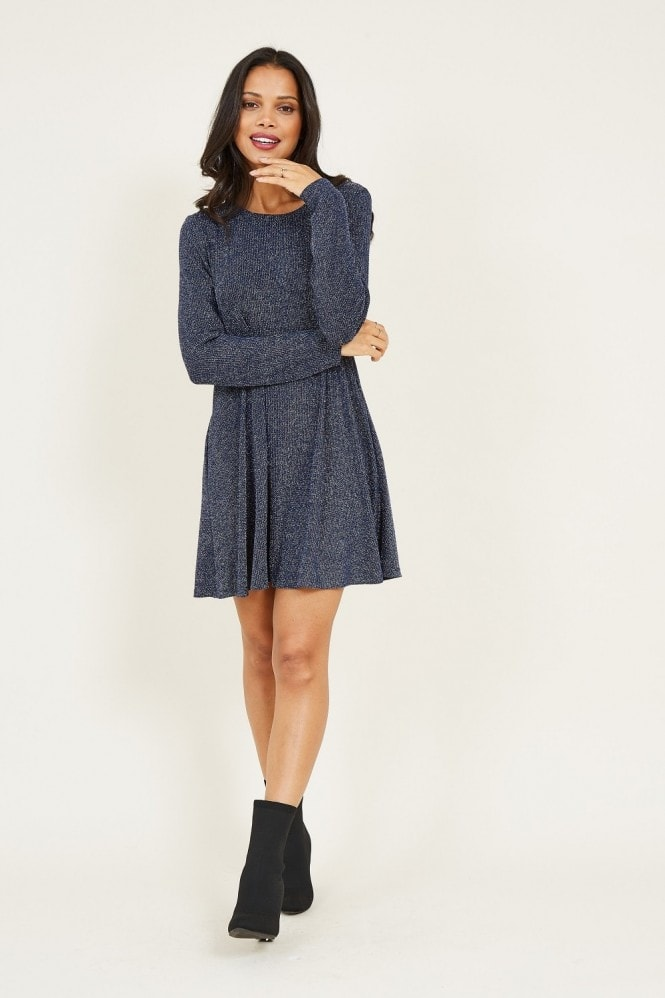 MELA Shimmer Long Sleeve Tunic Dress