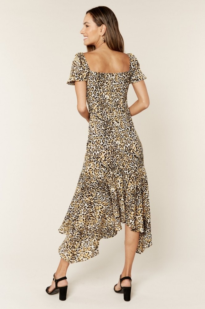 Gini London Animal Print Sweetheart Neckline Midi Dress