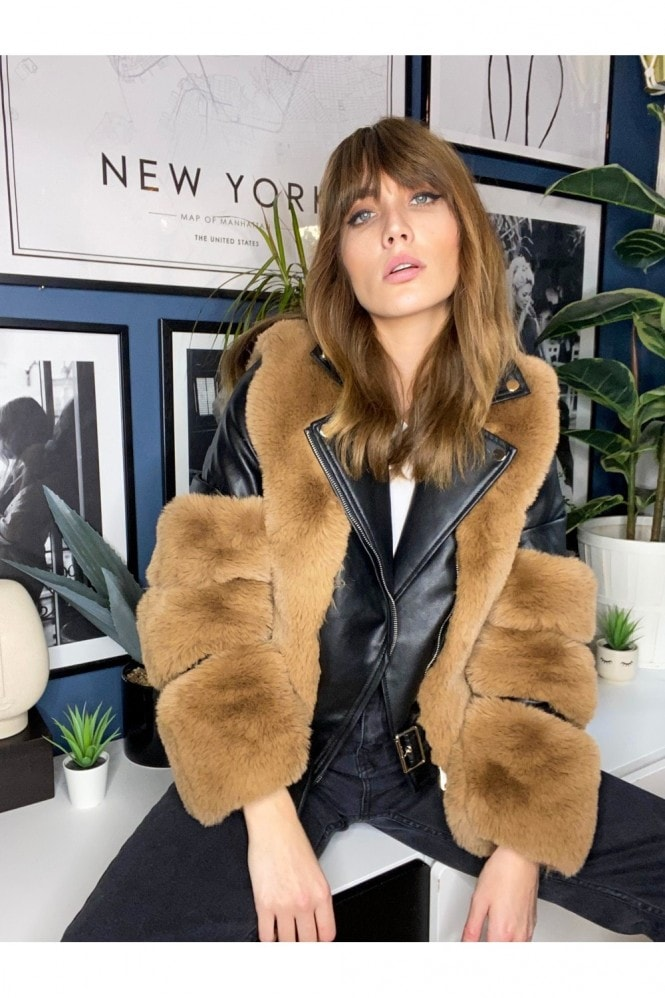 Black Faux-Fur Aviator Jacket