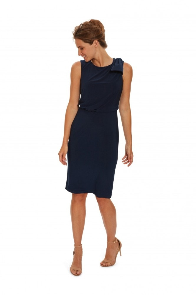 Gina Bacconi Estefani Jersey Dress With Shoulder Tie