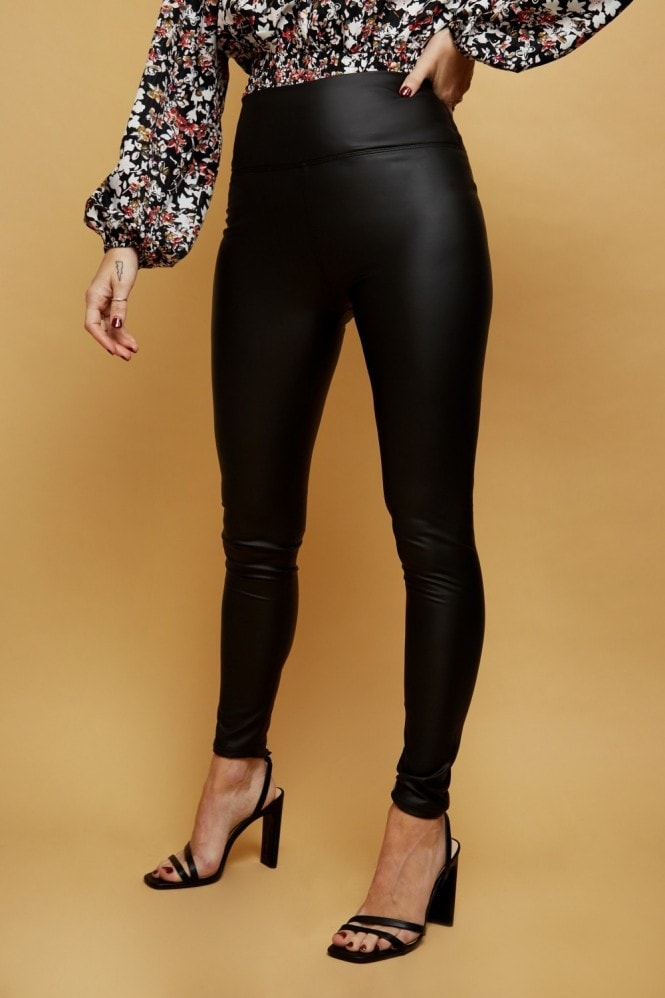 Black PU Faux Leather Leggings