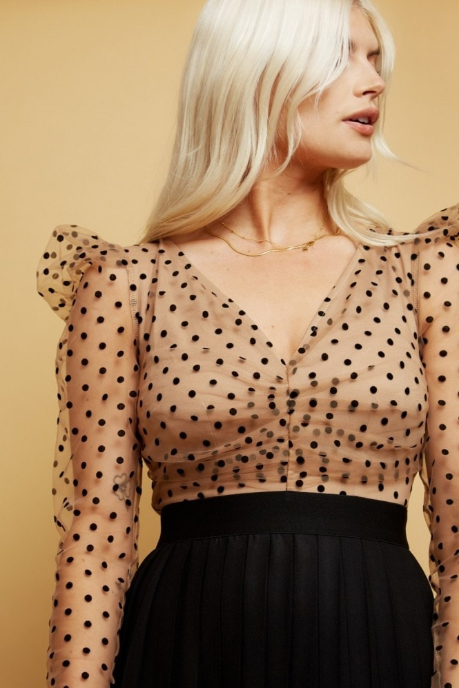Little Mistress Monroe Spot Mesh Pleated Midaxi Dress