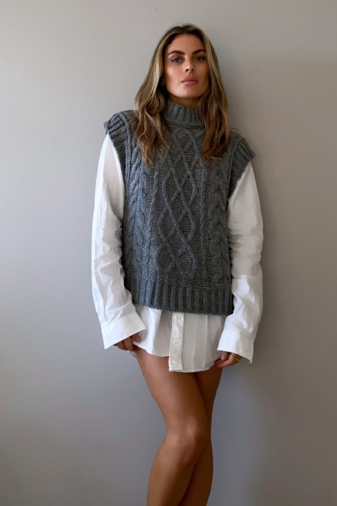 Grey Chunky Cable-Knit Vest