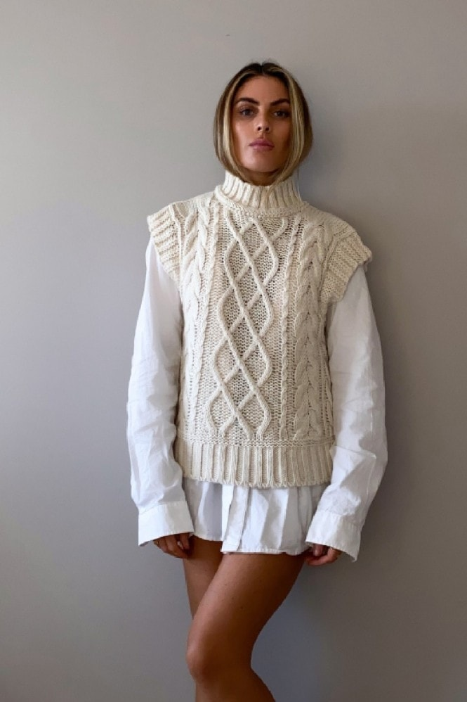 Cream Chunky Cable-Knit Vest