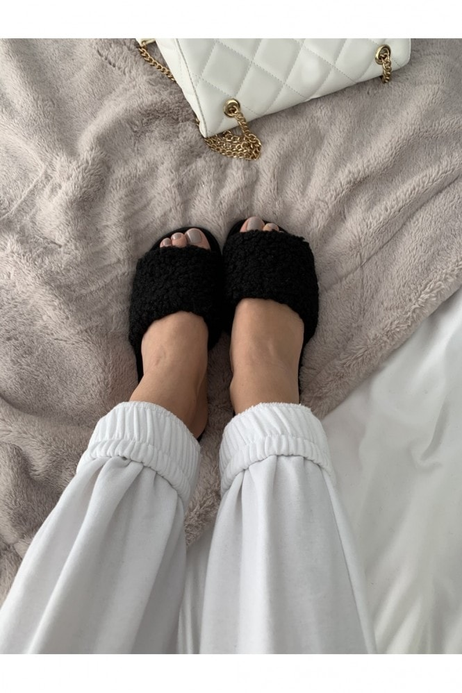 Black Teddy Bear Black Slipper