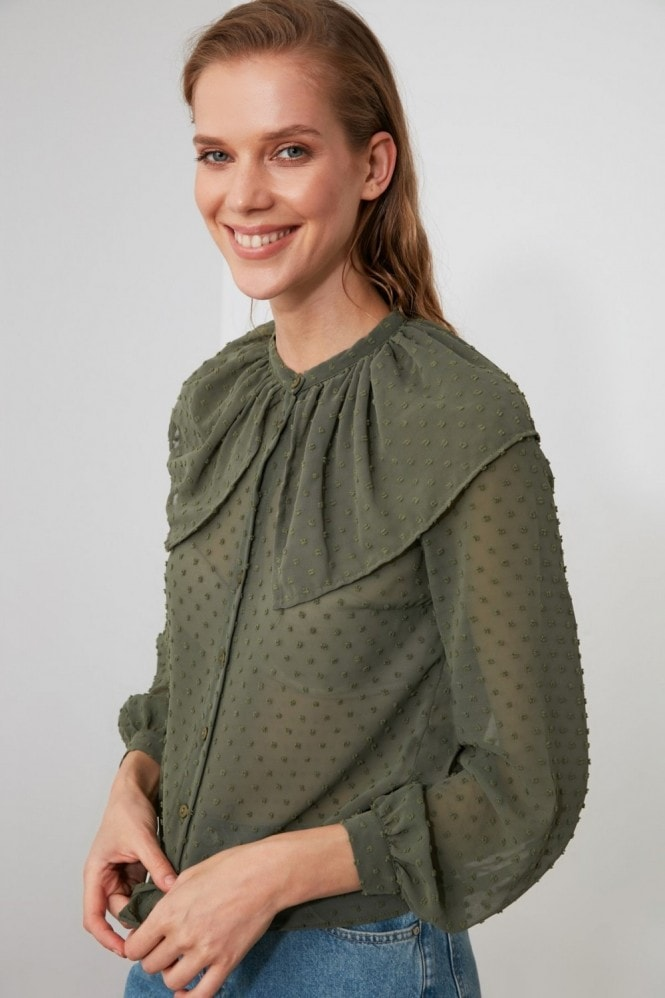 Little Mistress x Trendyol Khaki Tulle Detailed Blouse