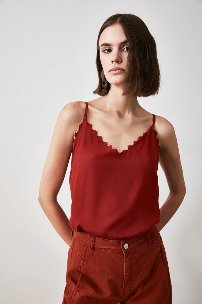 Little Mistress x Trendyol Burgundy Tile Laser Cut Blouse