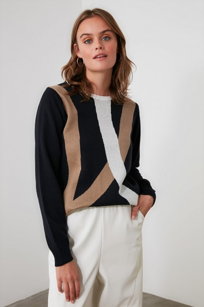 Little Mistress x Trendyol Navy Colour Block Knitwear Sweater