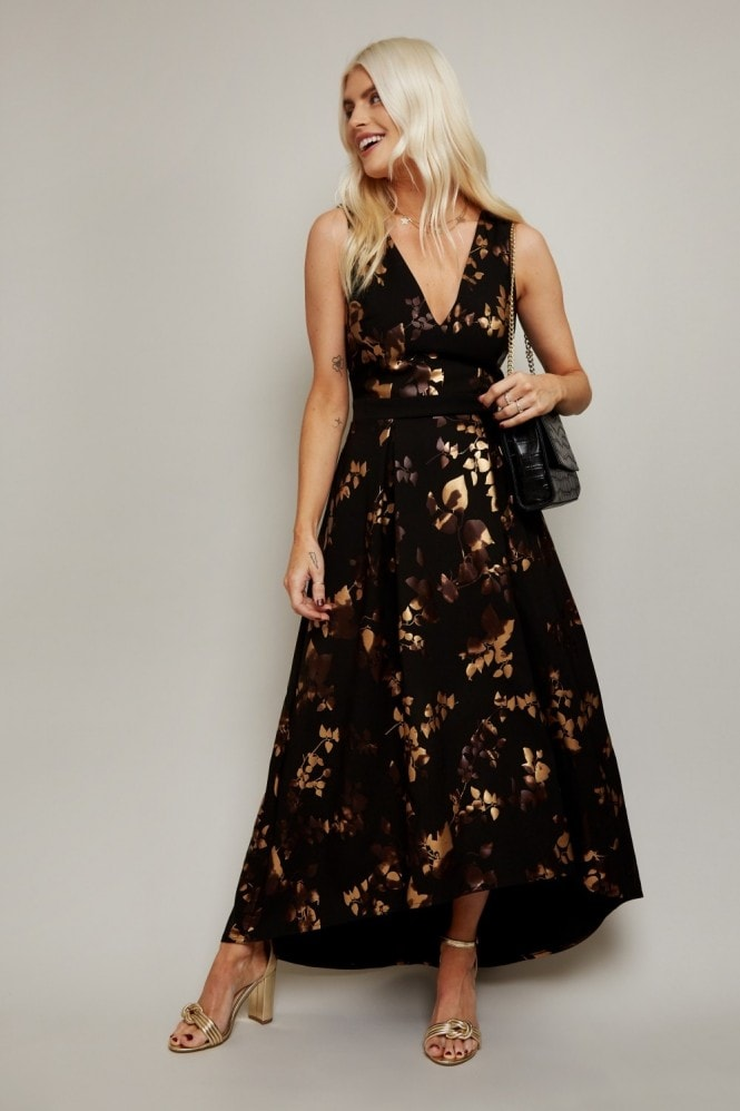 Little Mistress Fifi Gold Foil Hi-Low Prom Dress