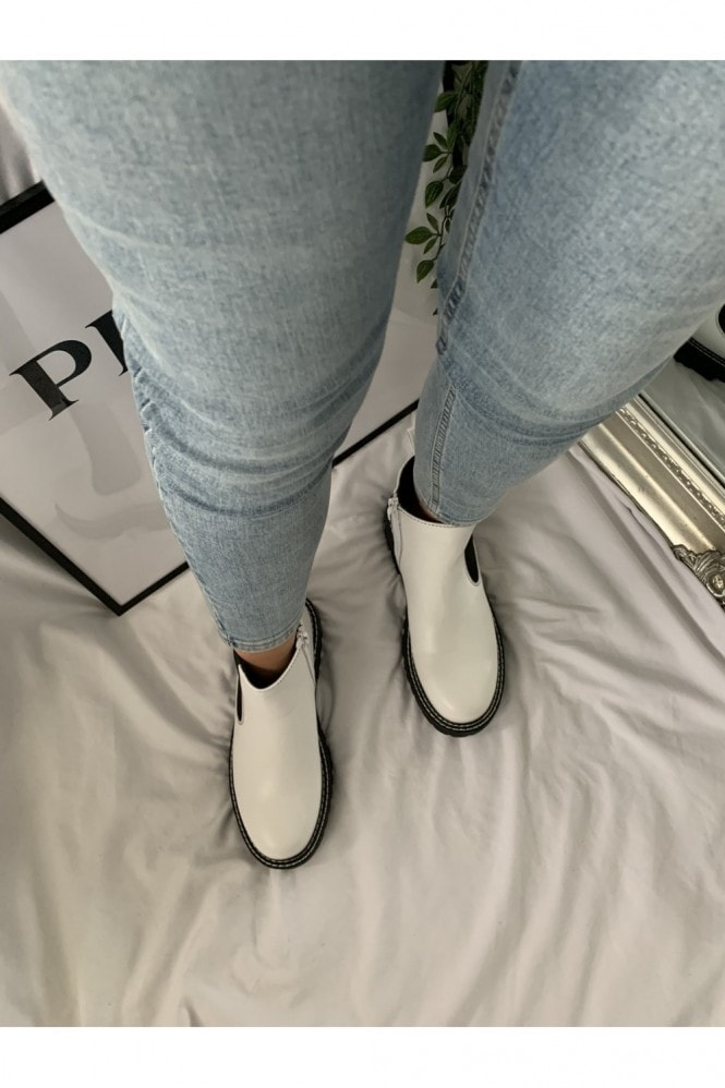 White Stitch Chelsea Boot