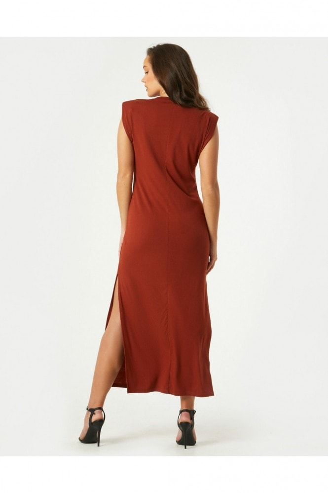 Little Mistress Vivi Maroon Padded Shoulder Midi Dress
