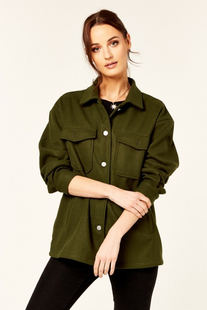 Gini London Khaki Oversized Pocket Detail Shacket