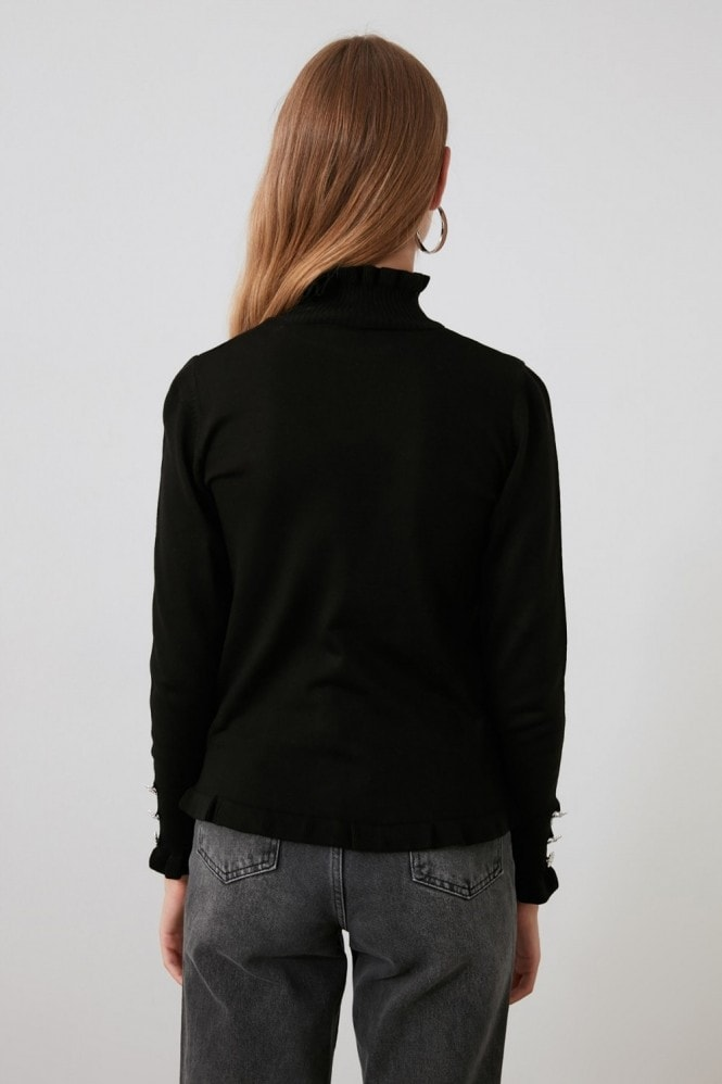 Little Mistress x Trendyol Black Roll Neck With Detail Button Sleeve