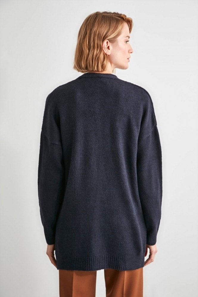 Little Mistress x Trendyol Navy Long Line Cardigan
