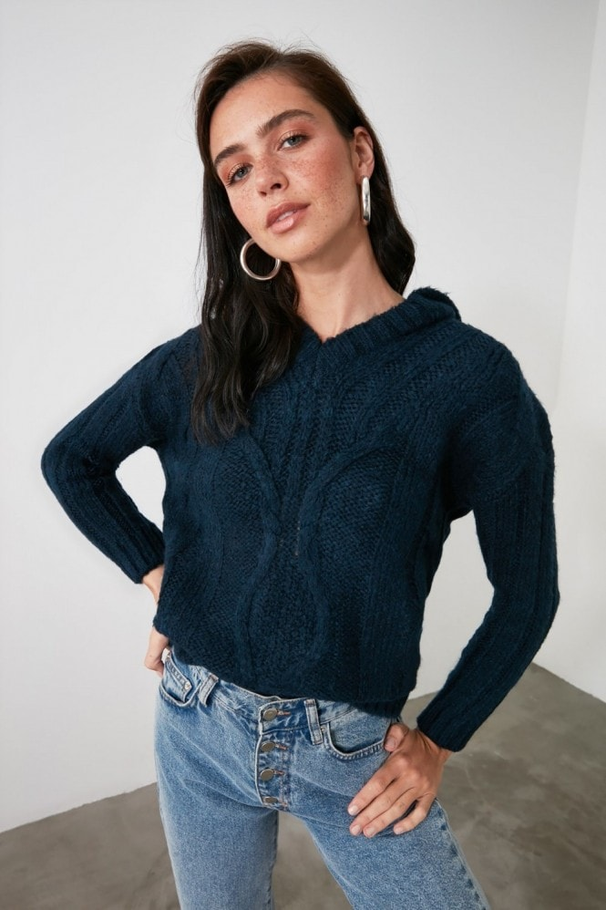 Little Mistress x Trendyol Navy Hooded Knit Jumper