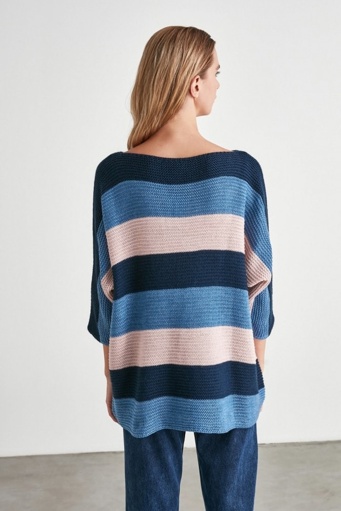 Little Mistress x Trendyol Navy And Pink Stripe Long Jumper