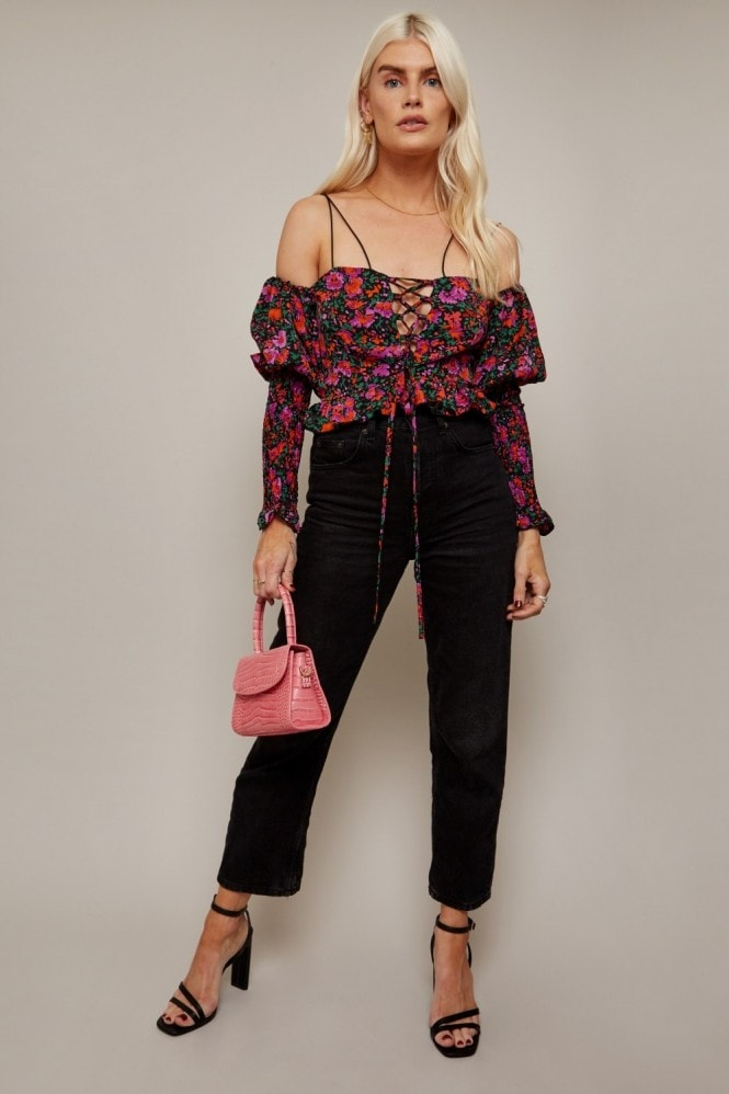 Little Mistress Freedom Floral-Print Lace-Up Crop Top