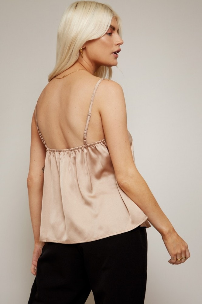 Little Mistress Aurore Champagne Satin Plunge Cami Top