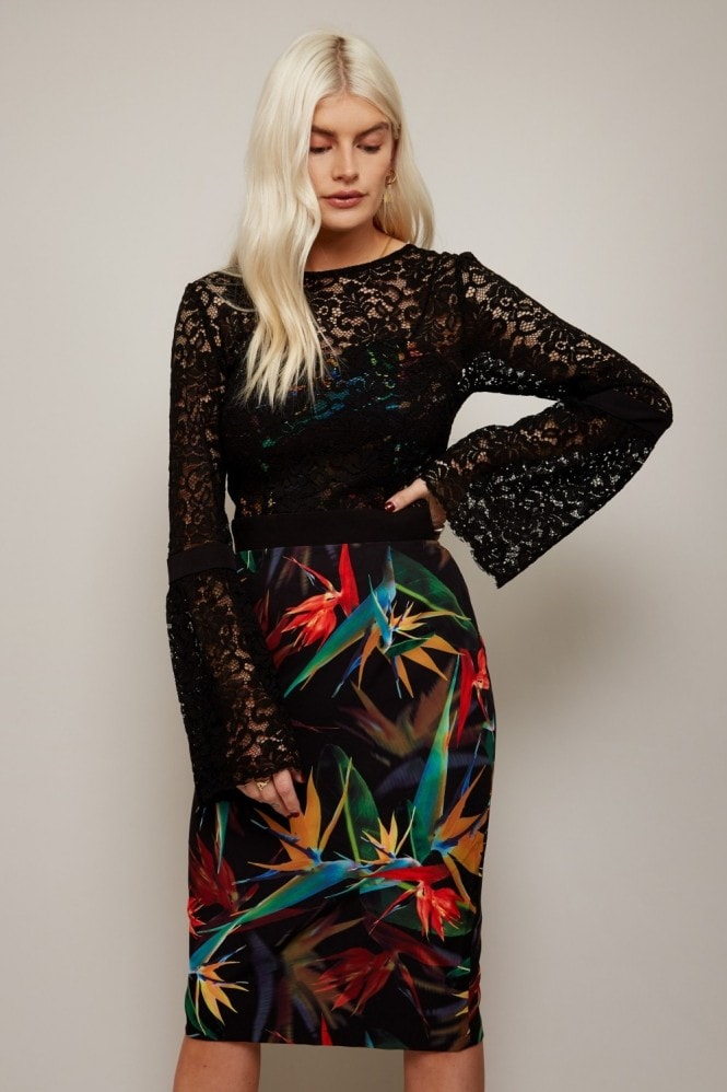 Paper Dolls Emas Print And Lace Overlay Dress