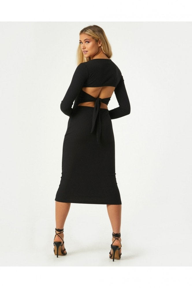 Little Mistress Lois Black Ribbed Tie-Back Detail Bodycon Midi Dress