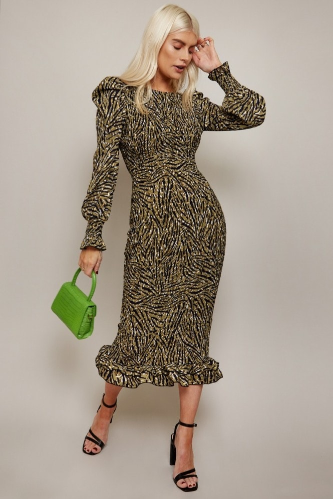 Little Mistress Momentum Animal-Print Gold Foil Plisse Midi Dress