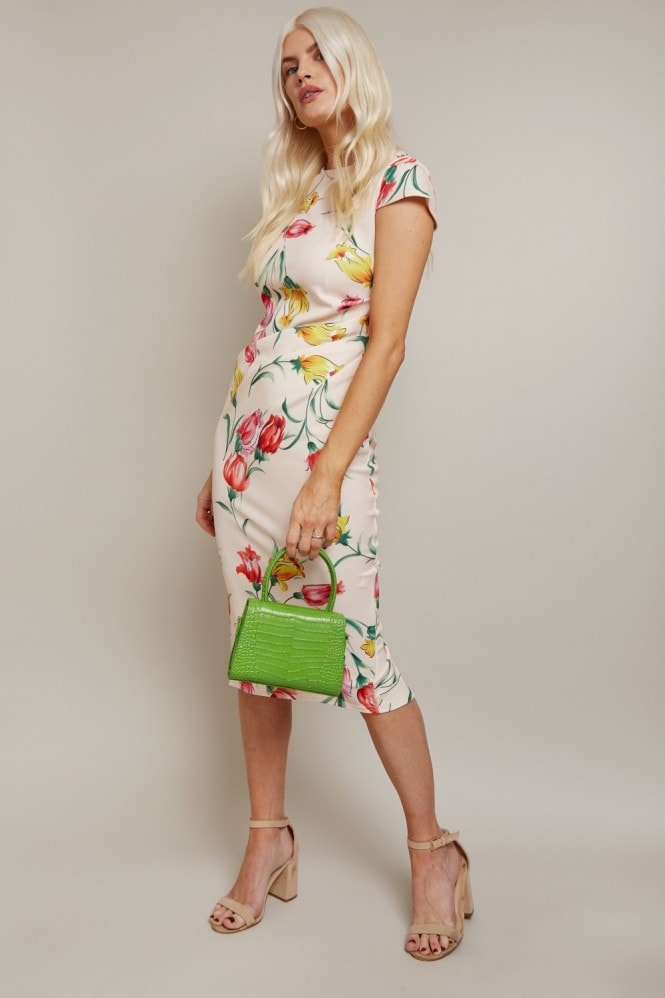 Girls on Film Alicia Floral-Print Gathered Side Dress